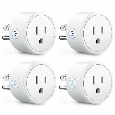 4 Pack WiFi Smart Plug Socket Outlet APP Control Compatible with Alexa - Google