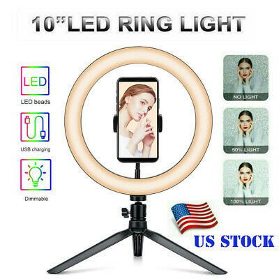 10 LED Ring Light with Tripod Stand - Phone Holder Dimmable Desk Ringlight Kit