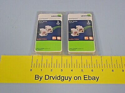 Two Pairs of Leviton 40830-T RCA Jacks AudioVideo Light Almond Total 4