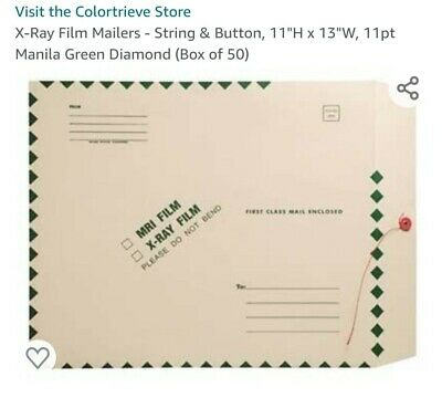 MRIX-Ray Film Mailers 11 x 13 String and Button Closure- 11pt- Green Diamond