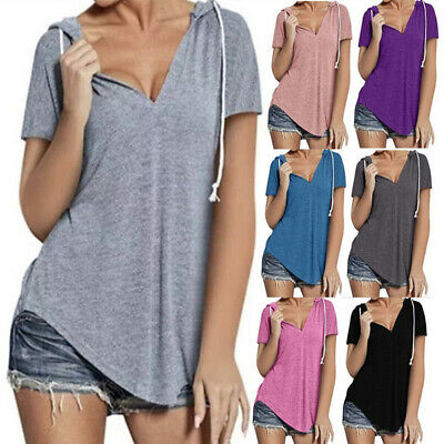 Women Summer V-Neck Short Sleeve Solid Hoodie T-Shirt Casual Blouse Loose Tops