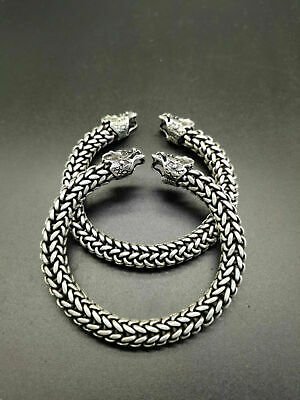 China Old Tibet Silver Carved A pair of Silver Dragon Bracelets