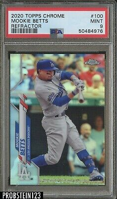 2020 Topps Chrome Refractor 100 Mookie Betts Los Angeles Dodgers PSA 9 MINT
