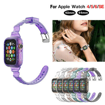 40443842mm Resin Glitter Clear Replacement Band for iWatch Series6 5 4 3 2 SE