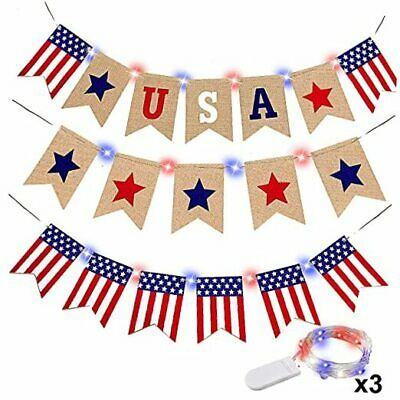 Fourth of July Patriotic Decorations 3Pcs 4th of July Banner with String