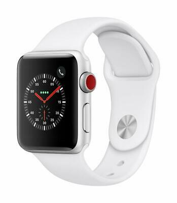 Apple Watch Series 3 GPS-LTE w 38MM Silver Aluminum Case - White Sport Band