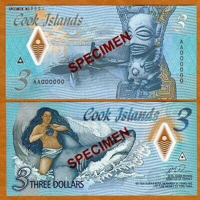 SPECIMEN Cook Islands 3 2021 Naked Ina - a shark P-New Polymer UNC