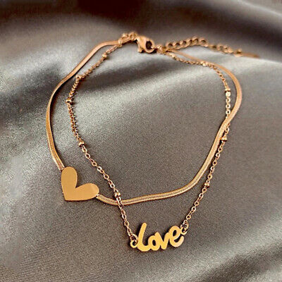 Hot Double Layer Gold Heart Love Anklets Women Bracelet Foot Chain Jewelry Gifts