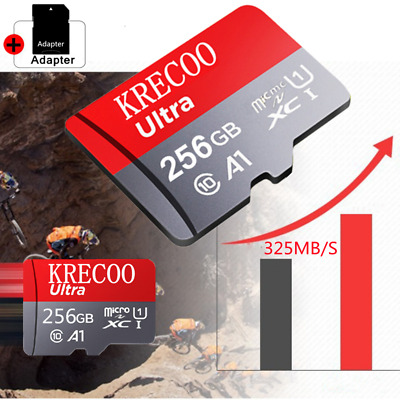 256GB 325MBS C10 A1 4K Fast Flash Memory SD Card Micro TF Card with Adapter US