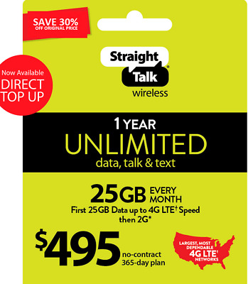 Straight Talk Unlimited Plan 365 Days 495 Card 25 GB 4G LTE At High Speed