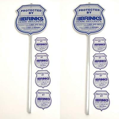 2 SIGN - 8 PACK BRINKS SECURITY HOME ALARM SIGN REFLECTIVE DECAL STICKERS