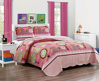 Mk Collection Bedspread TeensGirls Owl Pink New TwinTwin Extra Long 68 x 90
