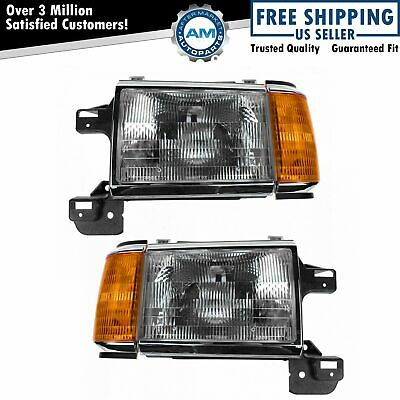 Headlights Headlamps w Chrome Trim Pair Set for 87-91 Bronco F-Series Truck