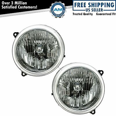 Headlights Headlamps Left - Right Pair Set NEW for 02-04 Jeep Liberty