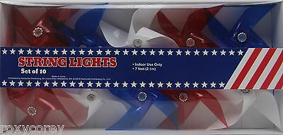 4th of July 10 Red White Blue Pinwheel Style String Lights Set Indoor Use NIB