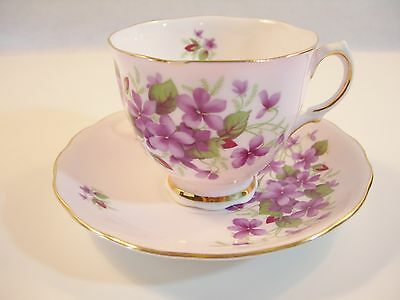 VINTAGE PRETTY LIGHT PINK COLCLOUGH CUP AND SAUCER VIOLETS WITH RED BUD ENGLISH