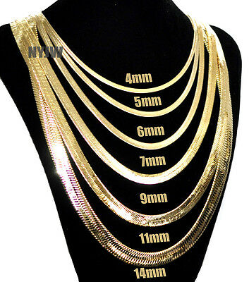 Mens Herringbone Yellow 14k Gold Plated 4 to14mm wide 20 24 30 Chain Necklace