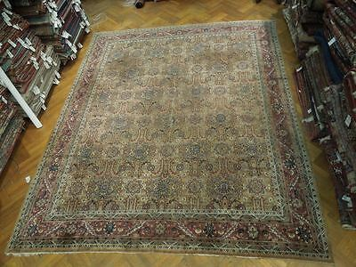 Antique 12x14 Pre-Owned Persian Tabriz Rug BRWON