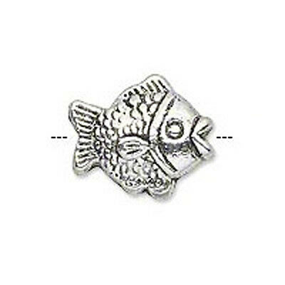 10 ANTIQUE SILVER PLATED METAL FISH BEADS 15MM