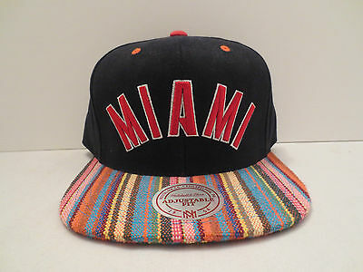 MITCHELL - NESS NBA MIAMI HEAT NATIVE STRIPE CANVAS SNAPBACK CAP HAT NWT