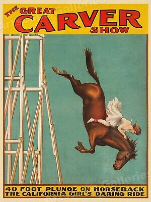 1920s Diving Horse Carver Show - Atlantic City Steel Pier Poster - 18x24