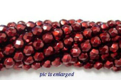 100 Crimson Sparkle Faceted Glass Beads 4MM