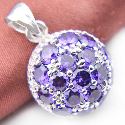 Mothers Day Gift Natural Purple Amethyst Gemstone Silver Necklace Pendants