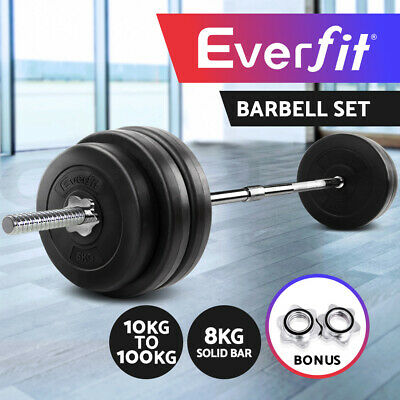 Everfit 10-100KG Barbell Set Weight Plates Gym Press Fitness Exercise Training
