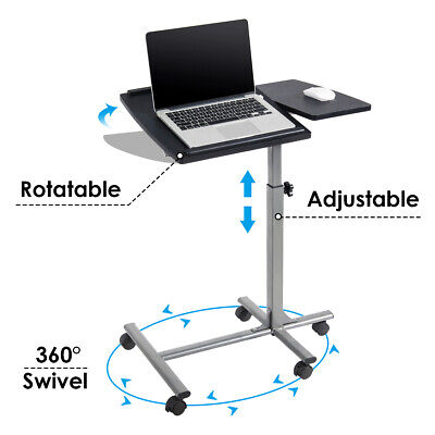 Adjustable Angle - Height Rolling Laptop Notebook Desk Stand Over Sofa Bed Table