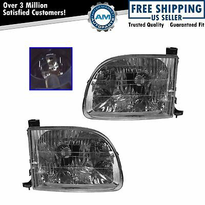 Headlights Headlamps Left - Right Pair Set for 00-04 Toyota Tundra Pickup Truck