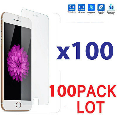 100x Wholesale Lot Tempered Glass Screen Protector for Apple iPhone 7 Plus