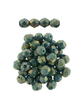 50 Persian Turquoise Bronze Picasso Czech Glass Faceted Fire Polished Beads 6MM