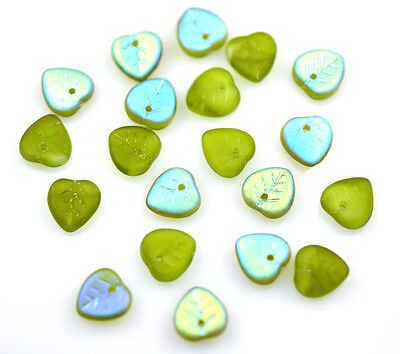 50 FROSTED OLIVINE AB CZECH GLASS HEART LEAF BEADS 9MM