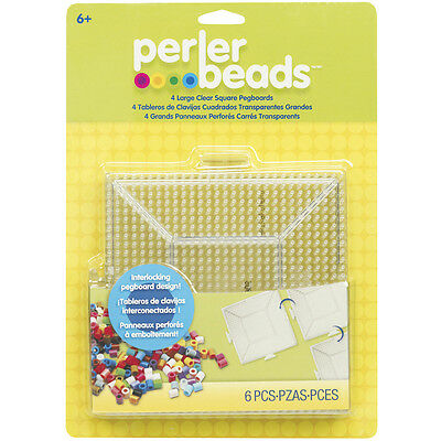 Perler Beads Large Square Pegboards for Kids Crafts 4 pcs