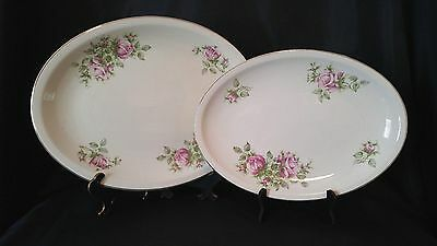 Lot of 2 Paden City Pottery Red Roses Gold Trim Oval Serving Platters G1
