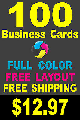 100 Full Color Gloss Business Cards - Customized Plus FREE Shipping