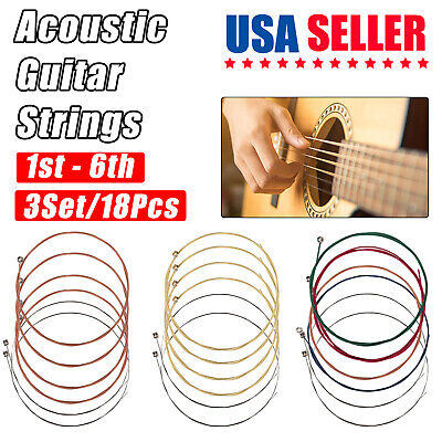 3 x Set of Guitar Strings Replacement Steel String for Acoustic Guitar