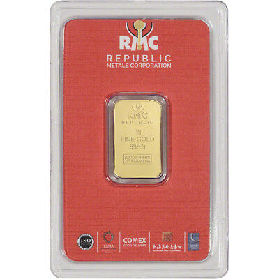 5 gram RMC Gold Bar - Republic Metals Corp - 999-9 Fine in Sealed Assay