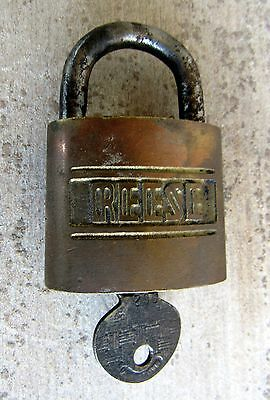 Vintage REESE Brass Lock - Key No- 2 Made in U-S-A-