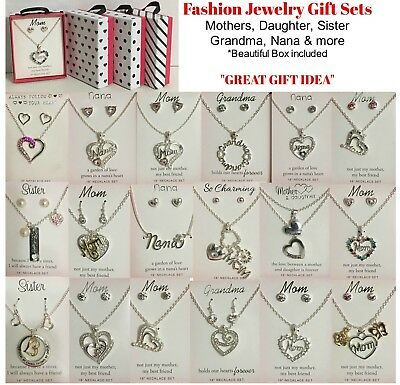 Mothers Day Jewelry Gift Box Sets Necklaces Earrings Mom Daughter Grandma Nana