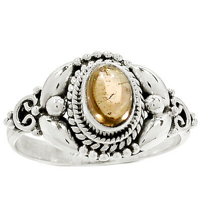 Smoky Cab 925 Sterling Silver Ring Jewelry s-8 RR29761