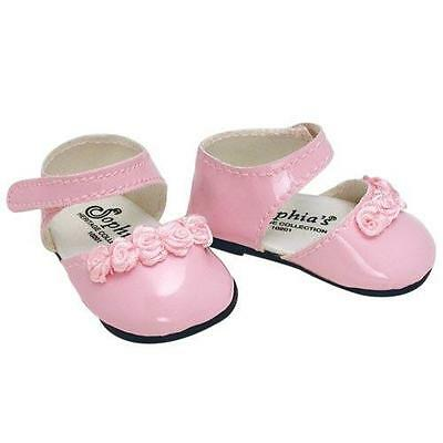 Doll Clothes Shoes with Roses Pink Fits 18 inch American Girl
