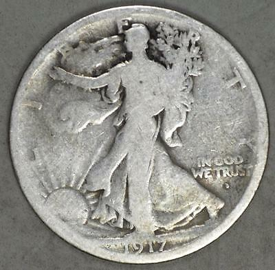 1917-D Mintmark on Obverse Walking Liberty Half Dollar Silver Coin