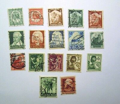 GERMANY 1934-1938 Lot of 17  Used Hinged Stamps