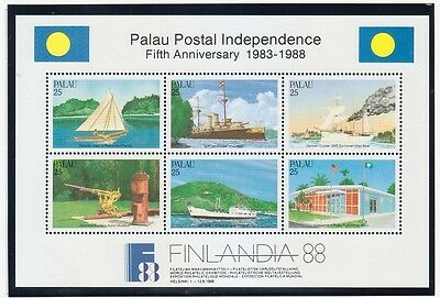 PALAU Sc 196-7 NH MINISHEETS OF 1988 - STAMPS-ON-STAMPS