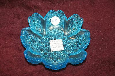 Very Nice Blue Daisy - Button with Almond Band by US Glass ca- 1891
