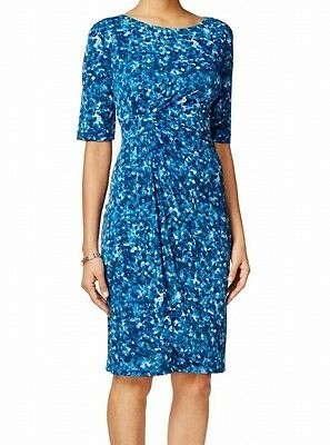 Connected Apparel NEW Blue Womens Size 6 Sheath Floral Printed Dress 69 001