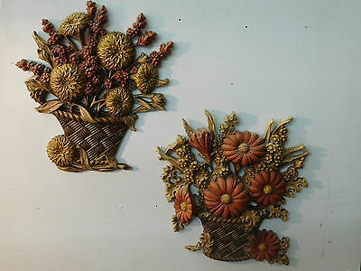 Set of 2 Vintage 1970s Burwood Products Company Fall Flower Basket Wall Hangings