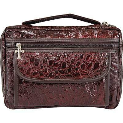 Bible Cover Genuine Leather Embassy Alligator-Embossed Privacy Pocket Burgundy