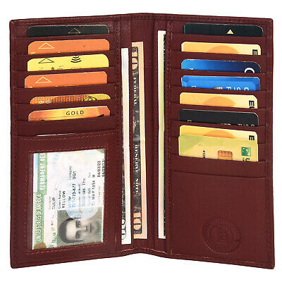 New Mens Leather Long Wallet Pockets ID Card Clutch Bifold Purse